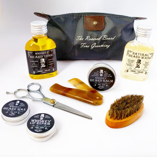 Whiskey Beard Grooming Gift Set. Whiskey scented products and accessories in a Washbag kit