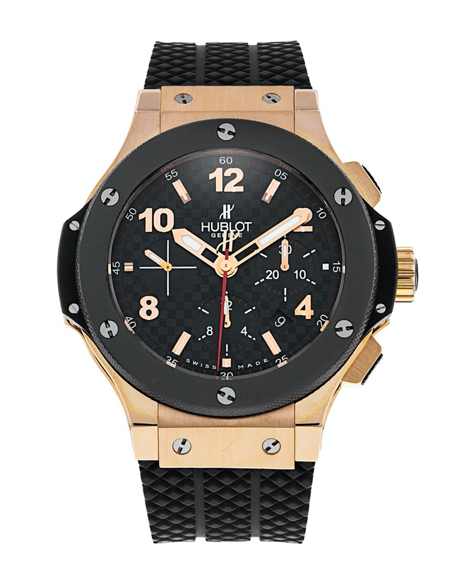Hublot Big Bang 44mm 18K Rose Gold Ceramic Rubber Strap Men's Watch