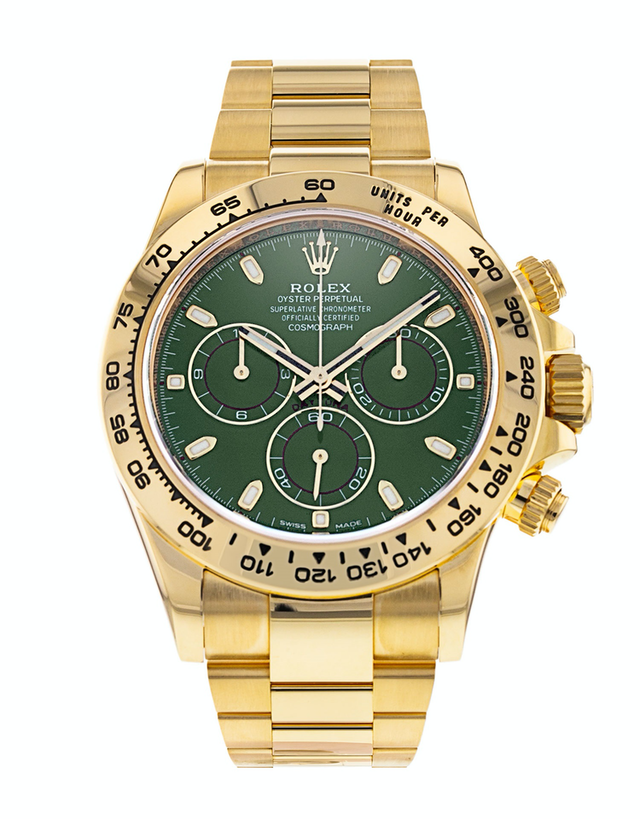 Rolex Daytona Yellow Gold Green Dial Men's Watch