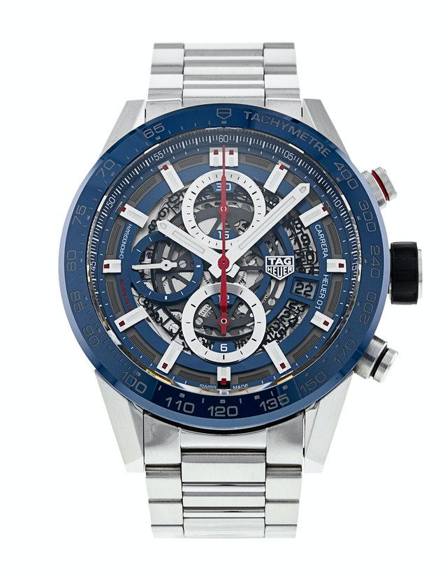 Tag Heuer Carrera Automatic Chronograph Skeleton Blue Dial Men's Watch