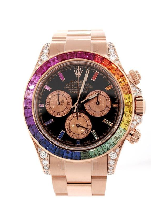 Rolex Cosmograph Daytona Custom Rainbow Colored Baguette Bezel Rose Gold Oyster Men's Watch