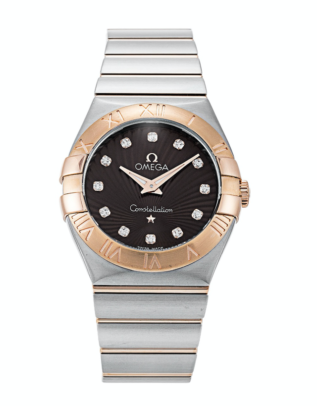 Omega Constellation Diamond Brown Dial Ladies Watch