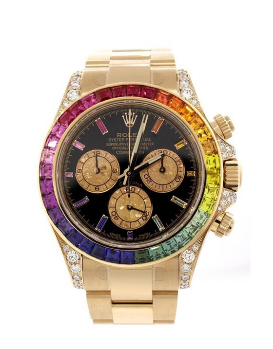 Rolex Cosmograph Daytona Custom Rainbow Colored Baguette Bezel Yellow Gold Oyster Men's Watch
