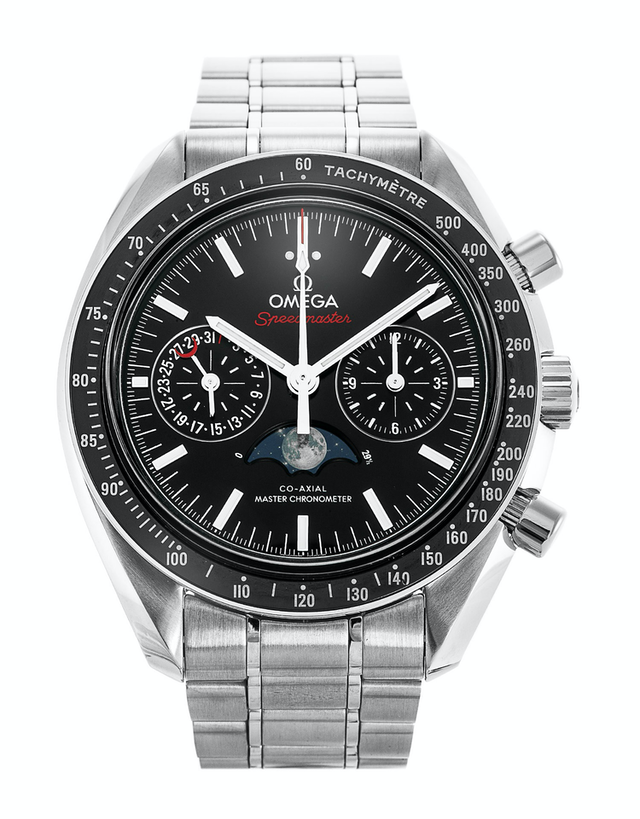 Omega Speedmaster Moonphase Co-Axial Master Chronometer Chronograph Black Dial Stainless Steel Men's Watch