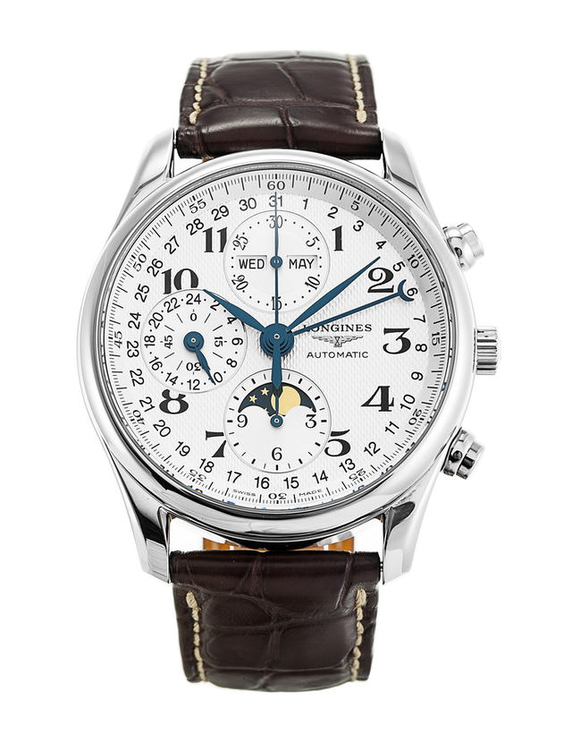 Longines Masters Automatic Chronograph White Dial Brown Leather Men's Watch