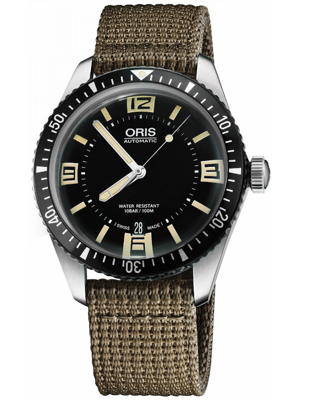 Oris Divers Sixty- Five Black Dial Khaki Fabric Men's Watch