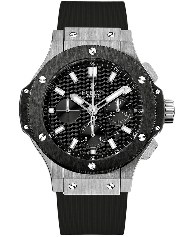 Hublot Big Bang 44mm Steel Ceramic Black Chronograph Rubber Strap Men's Watch