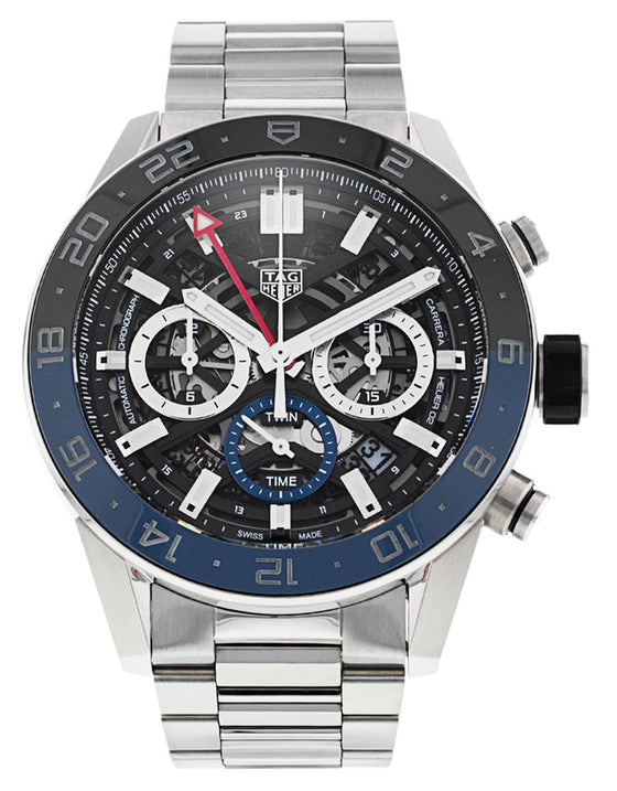 Tag Heuer Carrera Calibre Heuer 02 Black & Blue Ceramic Bezel Steel Men's Watch