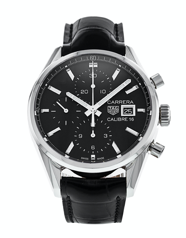 Tag Heuer Carrera Calibre 16 Chronograph Automatic Black Leather Strap Men's Watch