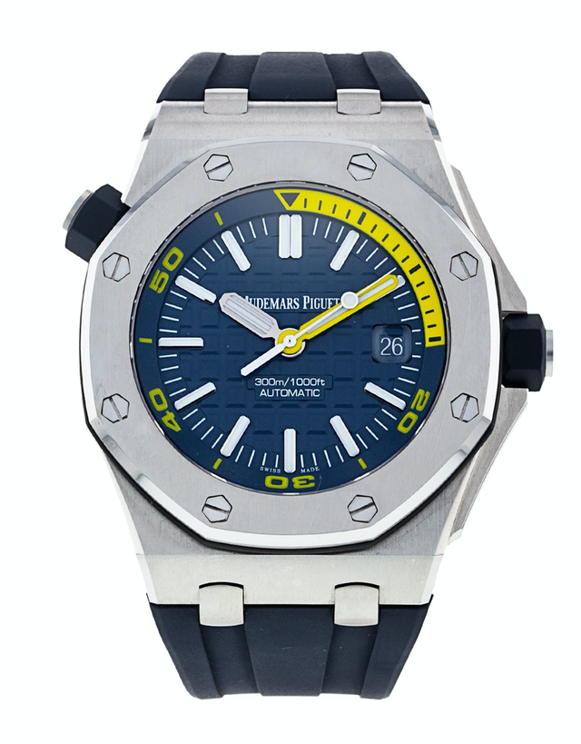 Audemars Piguet Royal Oak Offshore Automatic Blue Dial Blue Rubber Strap Men's Watch