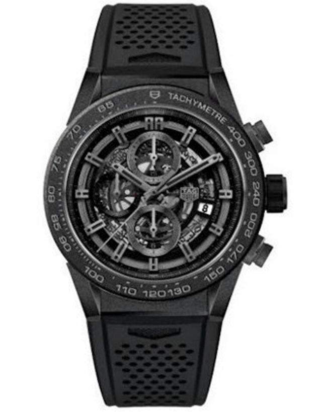 Tag Heuer Carrera Calibre Heuer 01 Skeleton Automatic Chronograph Black Ceramic 45mm Men's Watch
