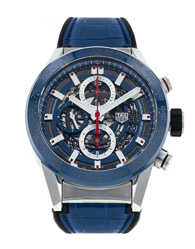 Tag Heuer Carrera Calibre Heuer 01 Chronograph Skeleton Blue Dial Men's Watch