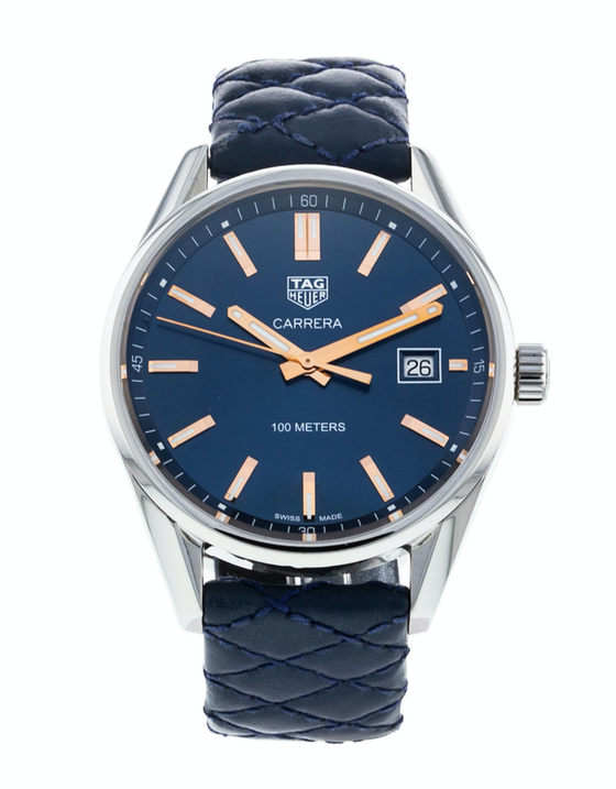 Tag Heuer Carrera Quartz Blue Dial Leather Strap Women's Watch