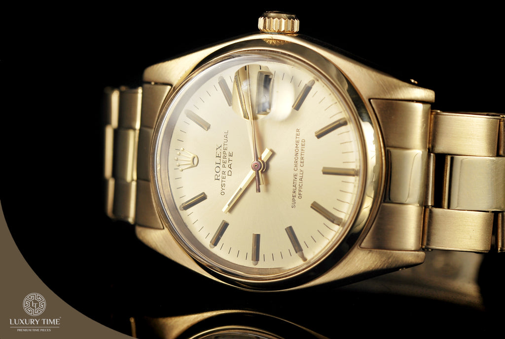 Rolex Oyster Perpetual Date Yellow Gold Mens Watch