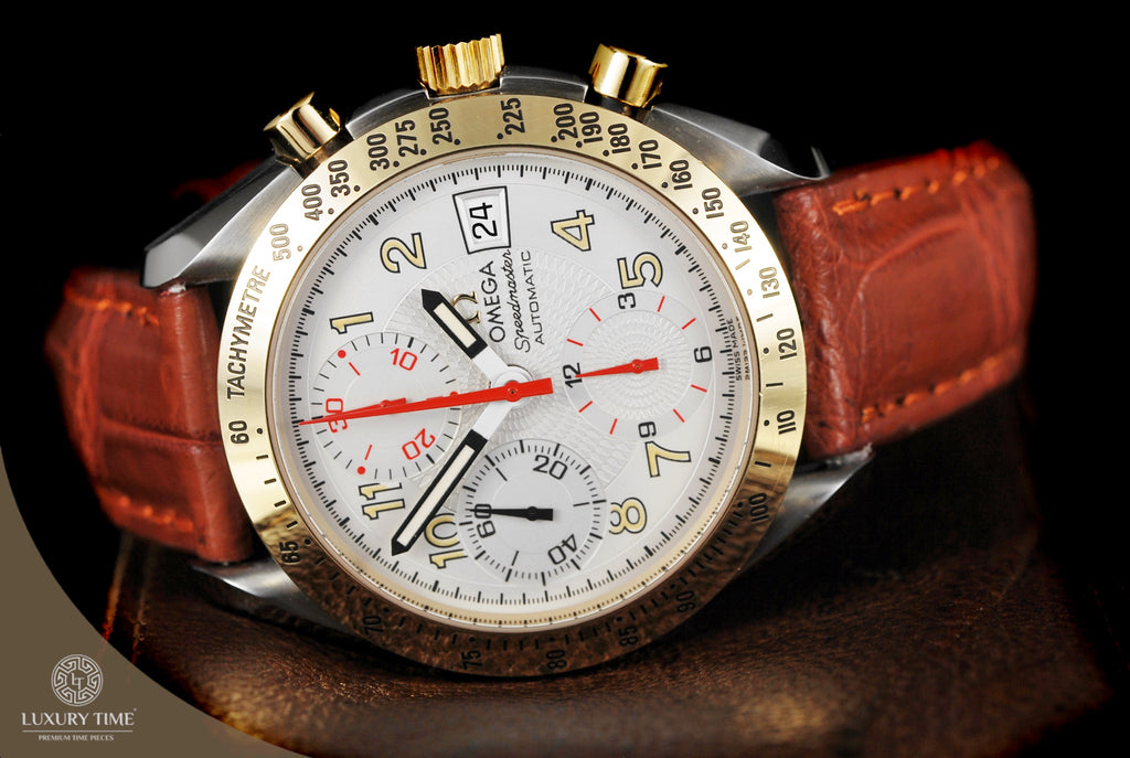 Omega Speedmaster Date Steel and Gold White Dial