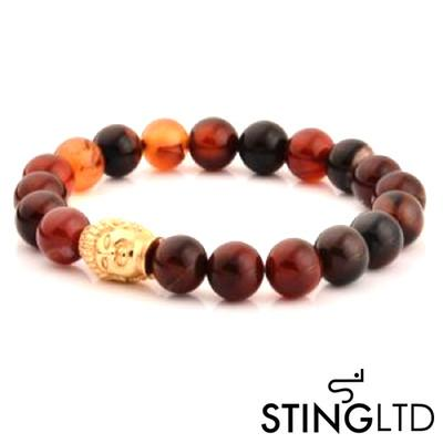 Carnelian Agate Gold Plated Buddha Stainless Steel Charm Beaded Bracelet