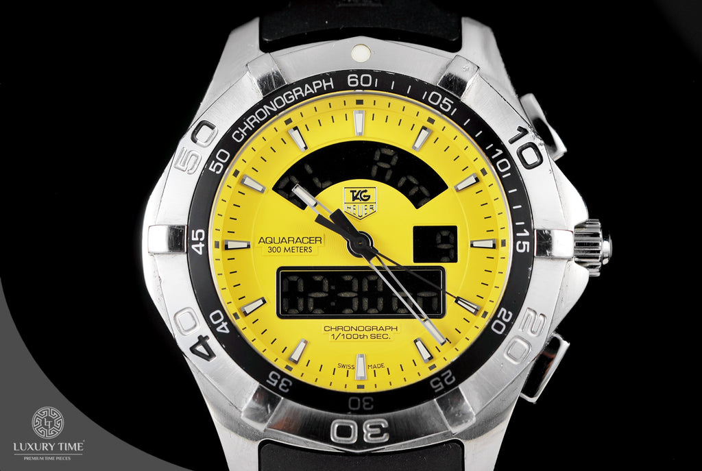 Tag Heuer Aquaracer Chronotimer Yellow Dial Men's Watch