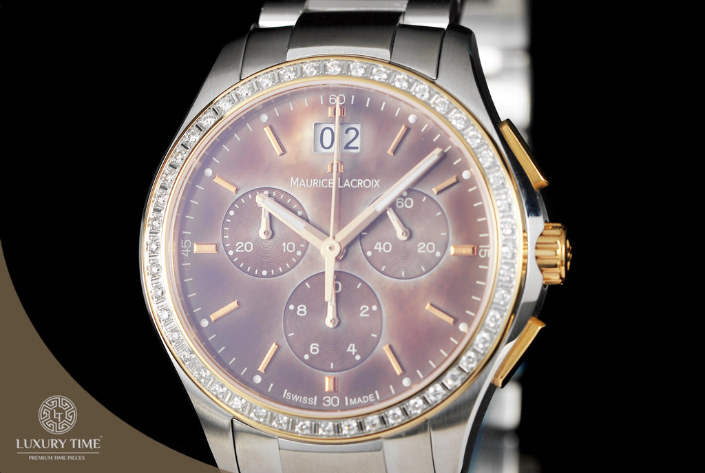 Maurice Lacroix Miros Chronograph Brown Mother Of Pearl Dial Ladies Watch