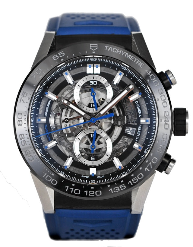 Tag Heuer Carrera Calibre Heuer 01 Skeleton Dial Blue Rubber Strap Men's Watch