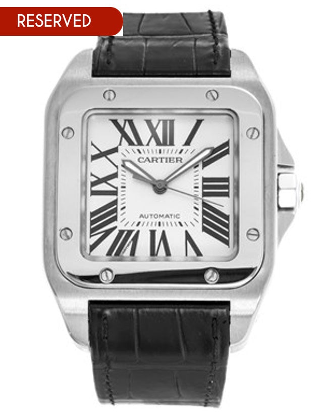 Cartier Santos 100 Automatic Silver Dial Leather Strap Men's Watch
