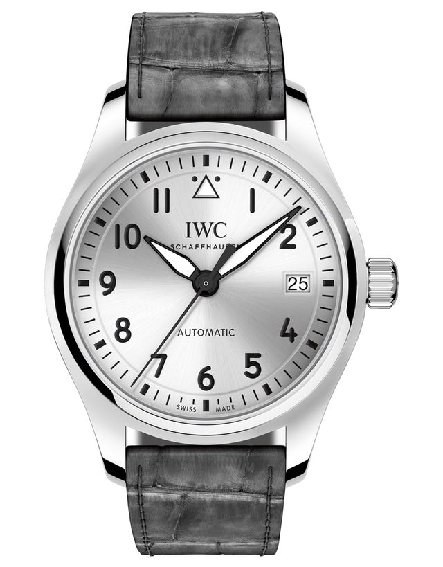 IWC Pilot's Automatic 36mm Silver Dial Grey Alligator Strap Watch
