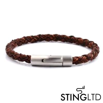 Brown Plaited Leather Bracelet