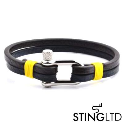 Brown, Navy and Yellow Leather Bracelet