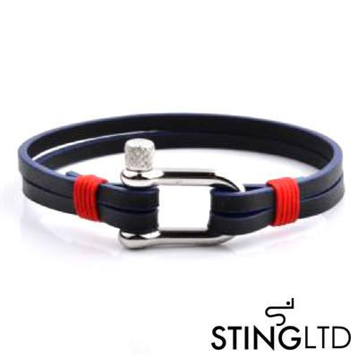 Navy and Red Leather Bracelet