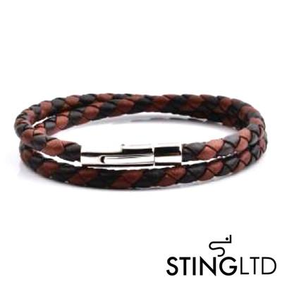 Two Tone Plaited Brown Wrap Leather Bracelet