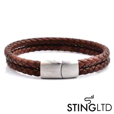 Double Plaited Brown Leather Bracelet