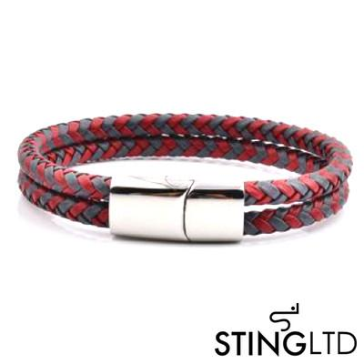 Double Plaited Red and Grey Leather Bracelet