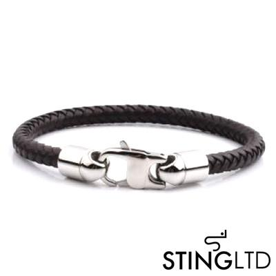 Black Plaited Leather Bracelet