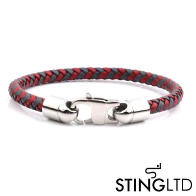 Red and Grey Plaited Leather Bracelet