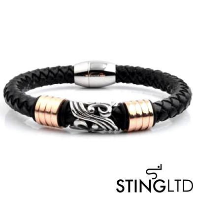 Black Plaited Rose Gold Plated  Stainless Steel Detail Leather Bracelet