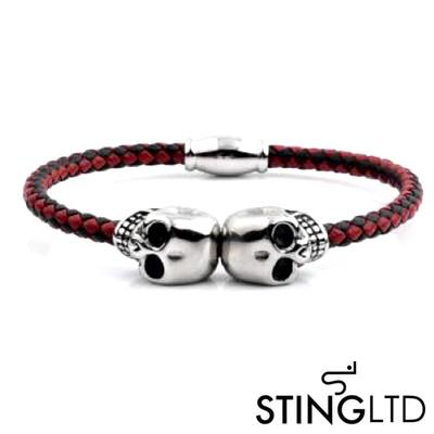 Thin Red and Grey Skull Stainless Steel Leather Bracelet