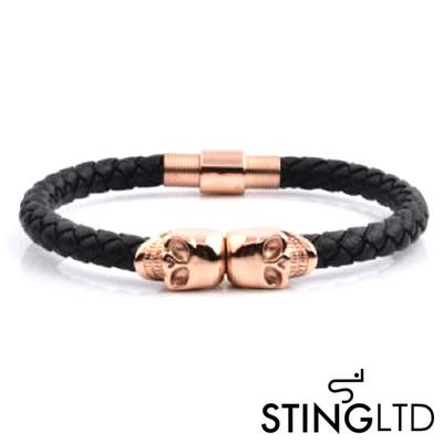 Black Plaited Rose Gold Plated Skull Stainless Steel Leather Bracelet
