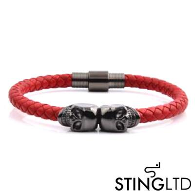 Red Plaited Gunmetal Skull Stainless Steel Leather Bracelet