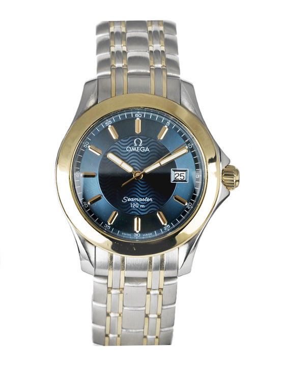 Omega Seamaster 120M Steel Yellow Gold Blue Dial Quartz Men's Watch