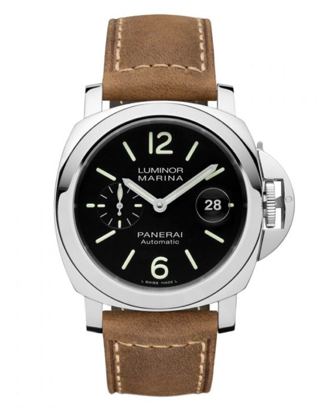 Panerai Luminor Marina Automatic Acciaio 44mm Black Dial Brown Leather Strap Men's Watch