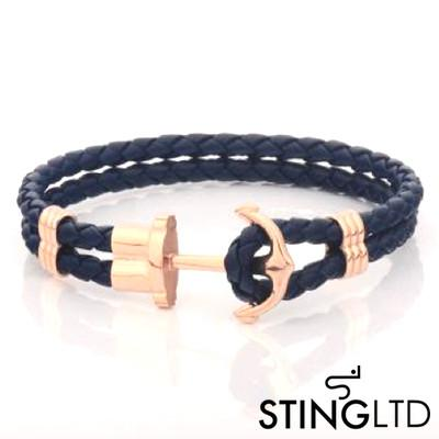 Navy  Rose Gold Plated Anchor Stainless Steel Leather Bracelet