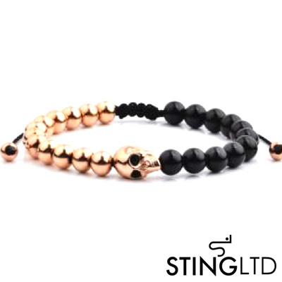 Matt Onyx Rose Gold Plated Skull Stainless Steel Charm Beaded Bracelet
