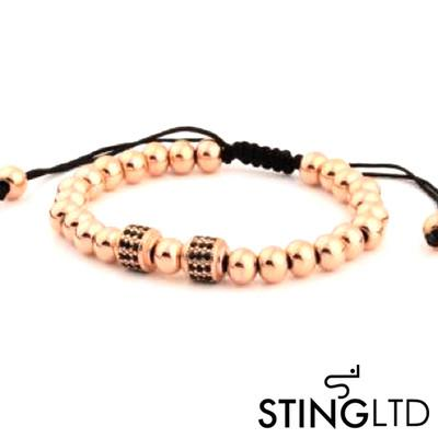 Rose Gold Plated Stainless Steel Beaded Macrame Bracelet With Black Crystal Detail