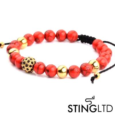 Red Magnesite Gold Plated Bead With Crystal Detail Stainless Steel Charm Beaded Macrame Bracelet