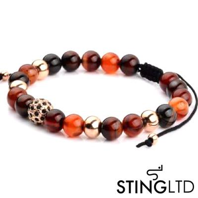 Carnelian Agate Rose Gold Plated Bead Stainless Steel Charm Beaded Macrame Bracelet