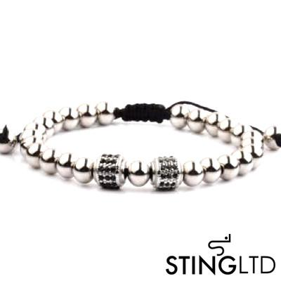 Stainless Steel Beaded Macrame Bracelet  With Black Crystal Detail