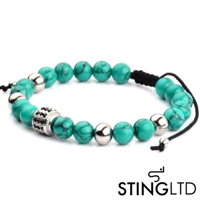 Turquoise Bead with Black Crystal Detail Stainless Steel Charm Beaded Macrame  Bracelet