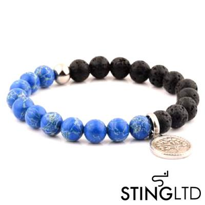 Natural Blue Sea Stone and Lava Rock  Tree Stainless Steel Charm Beaded Bracelet