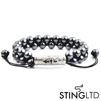Hematite Textured Stainless Steel Charm Double Beaded Macrame Bracelet