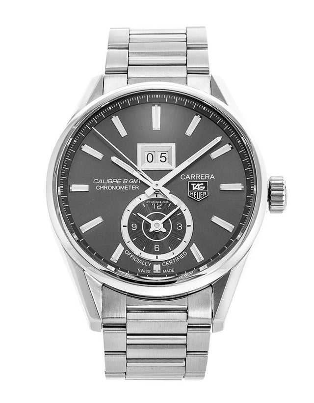 Tag Heuer Carrera Calibre 8 Gmt Grey Dial Stainless Steel Men's Watch