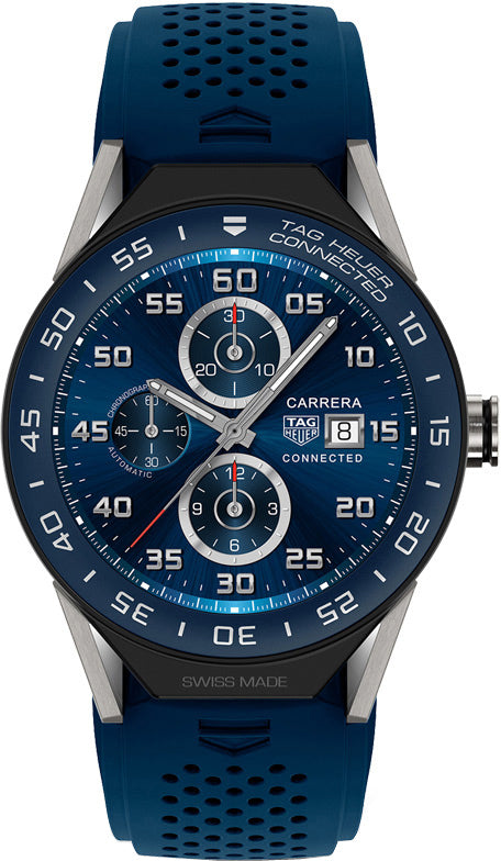 Tag Heuer Connected Modular 45 Blue Rubber With Blue Mat Ceramic Bezel Men's Watch